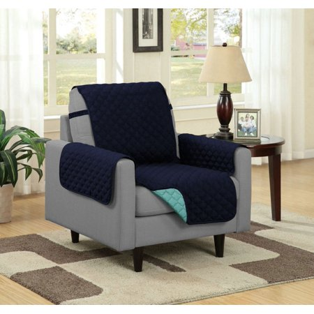 Linen Store Quilted Reversible Microfiber Pet Dog Couch Furniture Protector Cover With Strap, Chair, Aqua/Navy ()