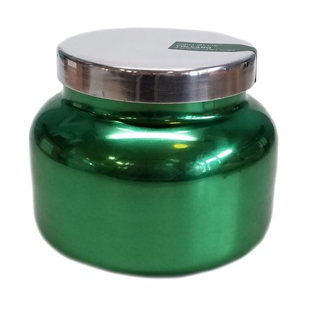 Capri Blue 8 ounce Holiday Metallic Green Jar Candle with Lid-Volcano