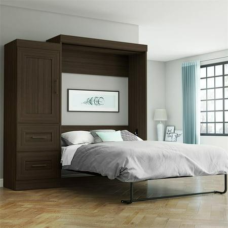 Bestar Edge Full Wall Bed with 2-Drawer Storage Unit in Dark