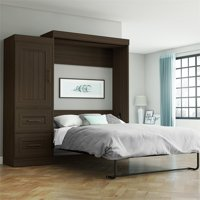 Bestar Edge Full Wall Bed with 2-Drawer Storage Unit in Dark Chocolate