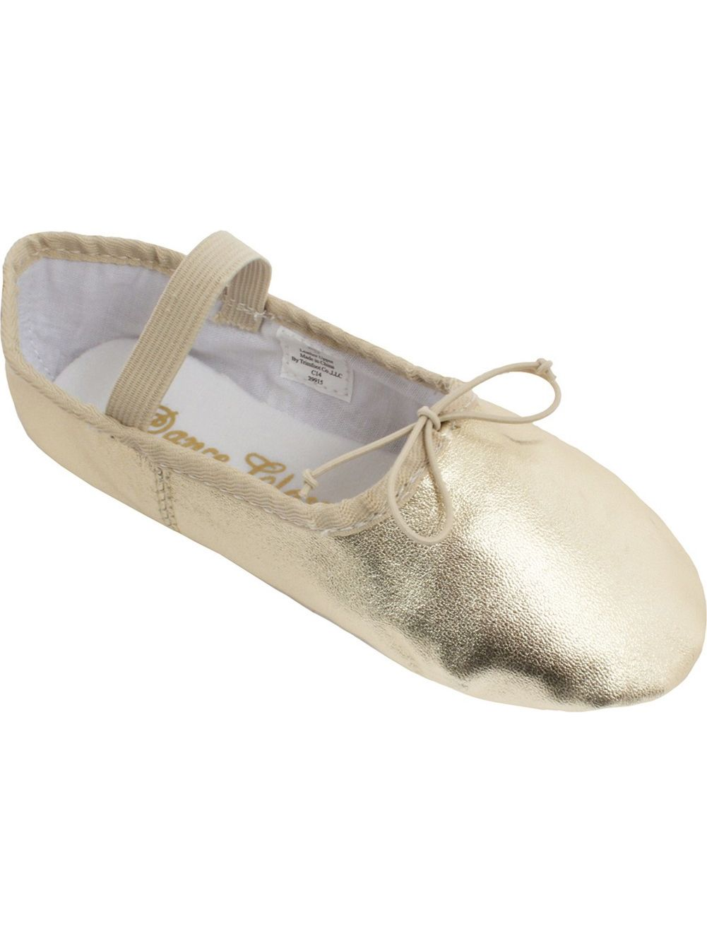 Gold Matte Metallic Shine Elastic Strap Bow Accent Ballet Shoes 5-13 Womens