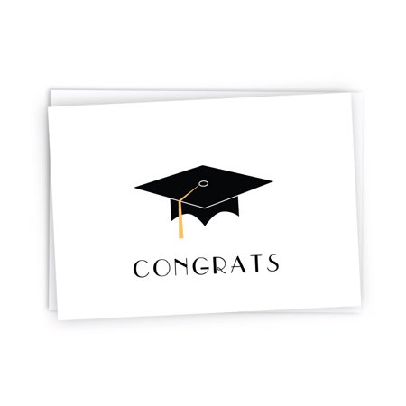 Graduation Cap with Colored Tassel Congratulations Note Cards - 24 Cards & Envelopes (Gold) (Graduation Name Cards)