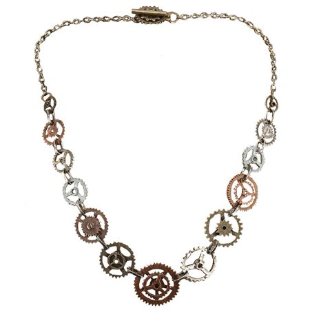 Steampunk Antique Single Chain Gears Costume Necklace Adult One Size - Costume Jewelry