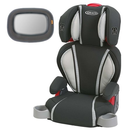 Graco Highback TurboBooster Booster Car Seat Glacier With Baby In Sight Mirror