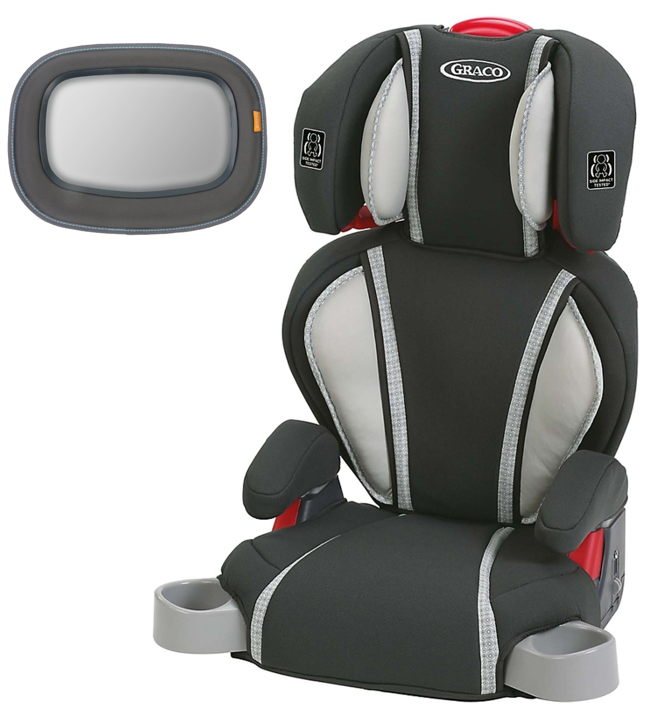 Graco Highback TurboBooster Booster Car Seat, Glacier with Baby In-Sight Mirror