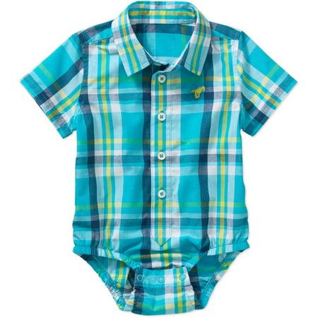 Wrangler Newborn Baby Boy Woven Bodysuit Walmart Com
