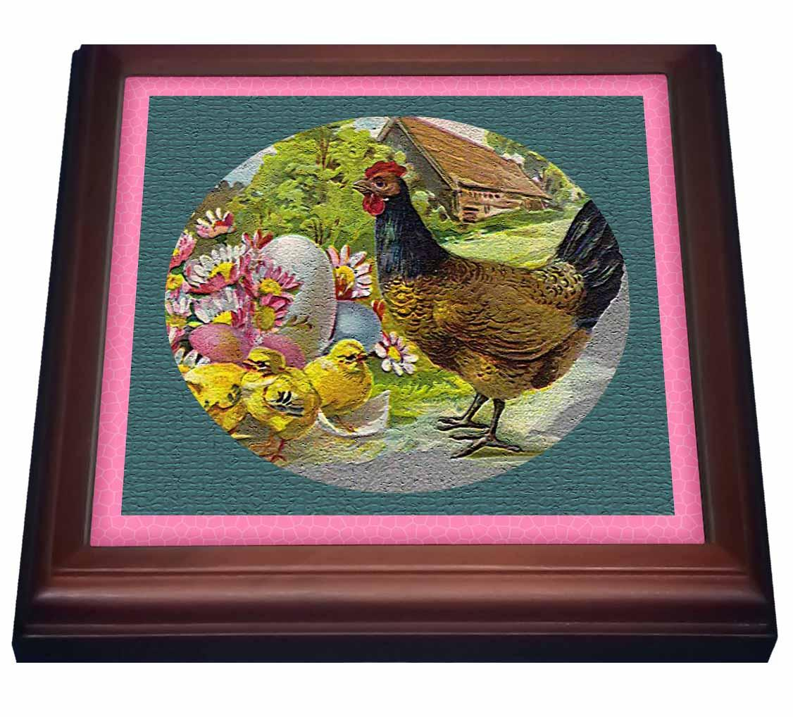 3dRose Hen and Chicks Textured, Trivet with Ceramic Tile, 8 by 8-inch