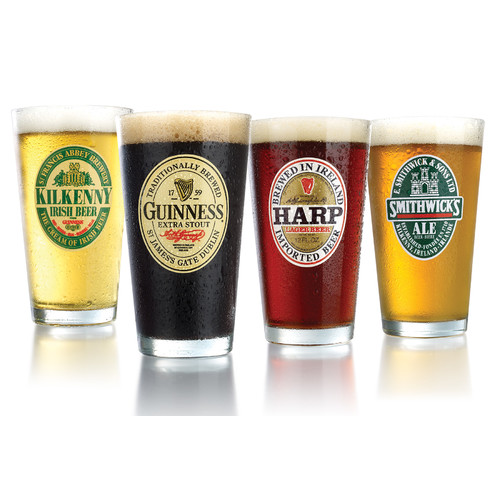 Set of 4 Assorted Irish Beer Label Glasses H0306