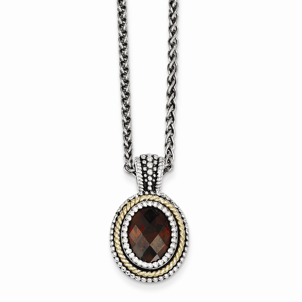 """14K Yellow Gold with Garnet Necklace -18"""" (18in x 2mm) by"""