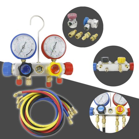 Tek Motion 4 Way AC Manifold Gauge Set R410a R22 R134a Quick Coupler 60