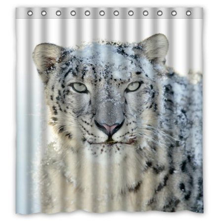 Hellodecor Snow Leopard Shower Curtain Polyester Fabric