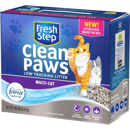 Fresh Step Clean Paws Multi-Cat Scented Litter with the Power of Febreze, Clumping Cat Litter, 18 lbs - Kitty Paw