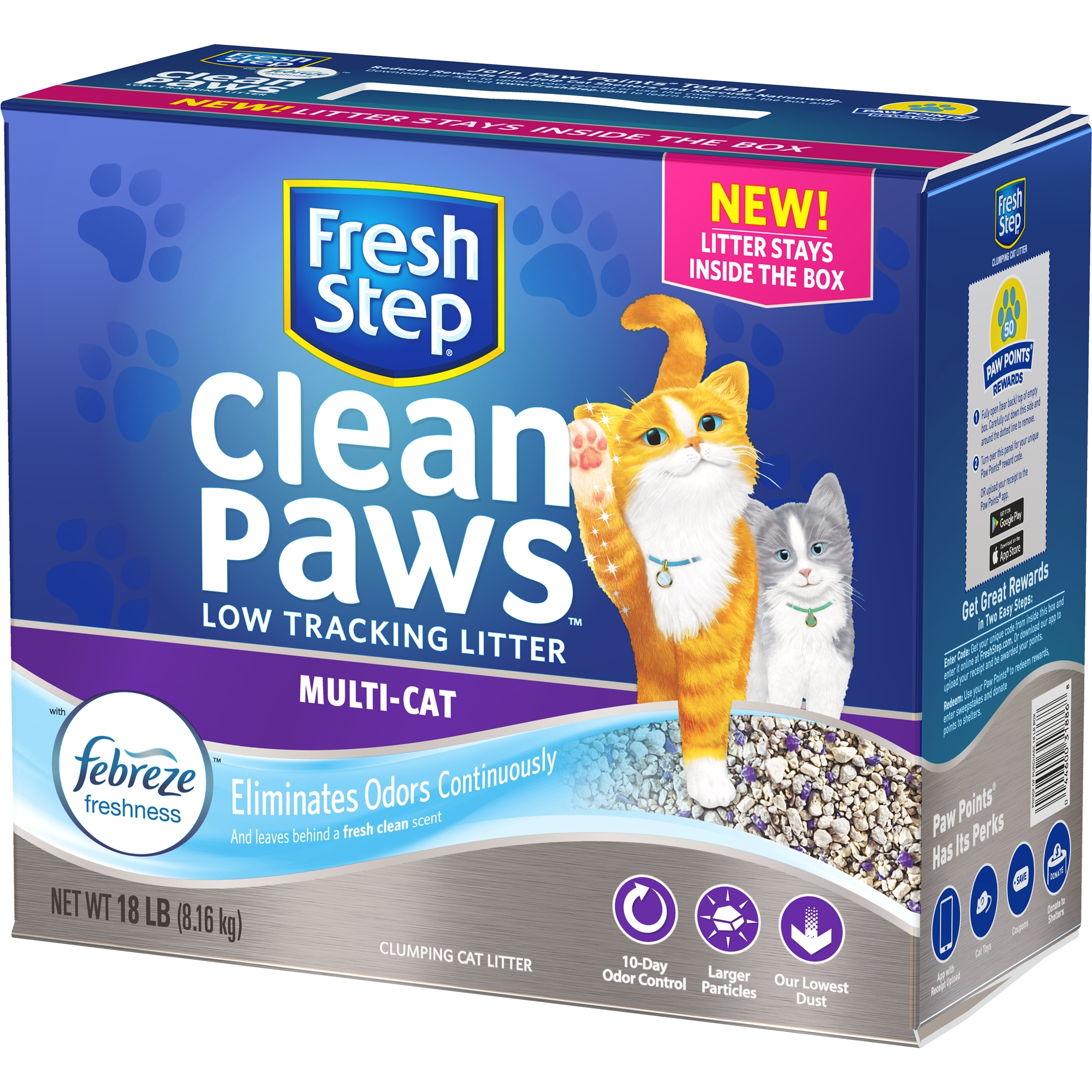 Fresh Step Clean Paws Multi-Cat Scented Litter with the Power of Febreze, Clumping Cat Litter, 18-lb