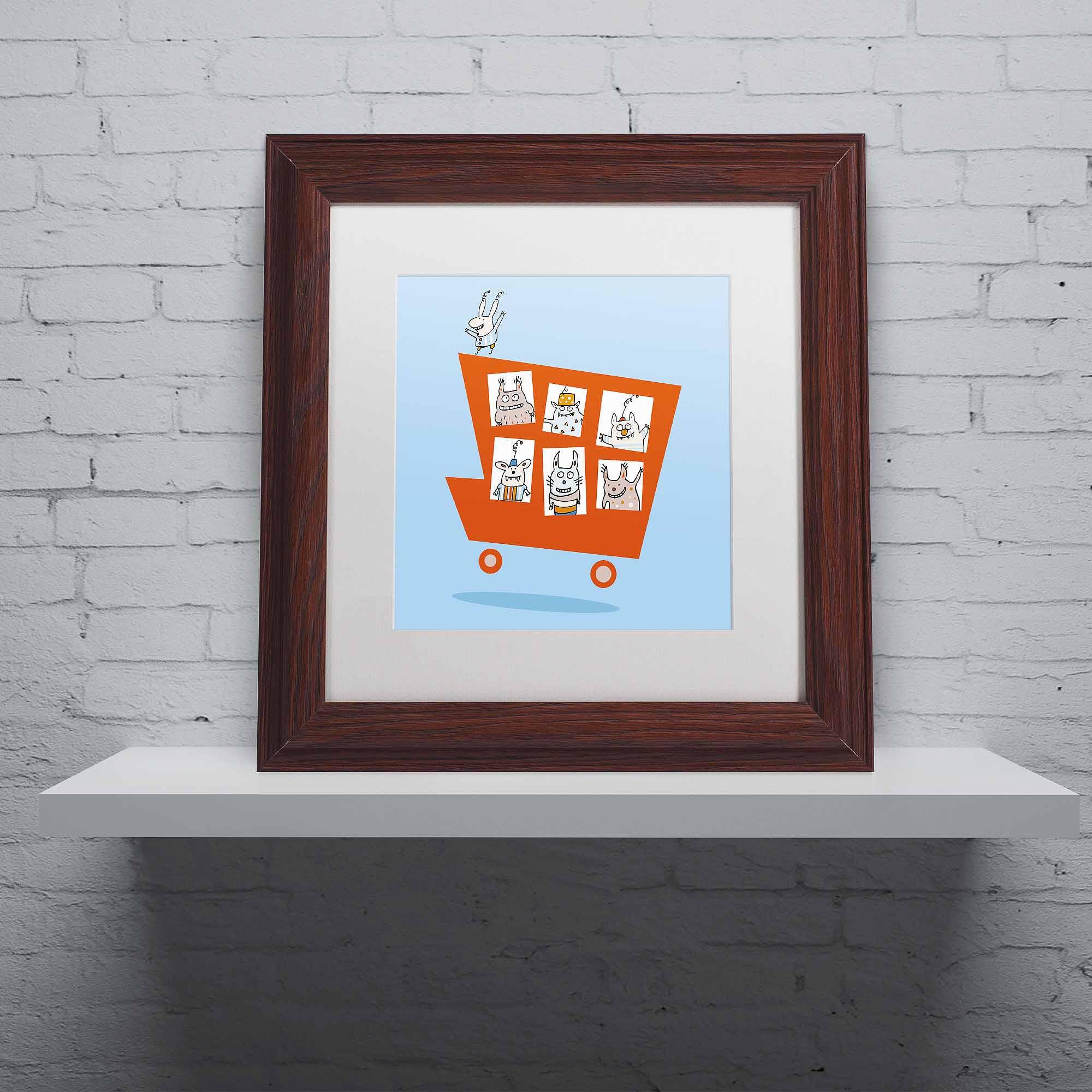 """Trademark Fine Art """"Monster Truck"""" Canvas Art by Carla Martell, White Matte, Wood Frame"""