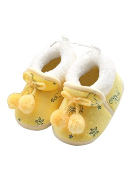 Infant Baby Girl Winter Warm Plush Half Boots Soft Sole Shoes 0-18M