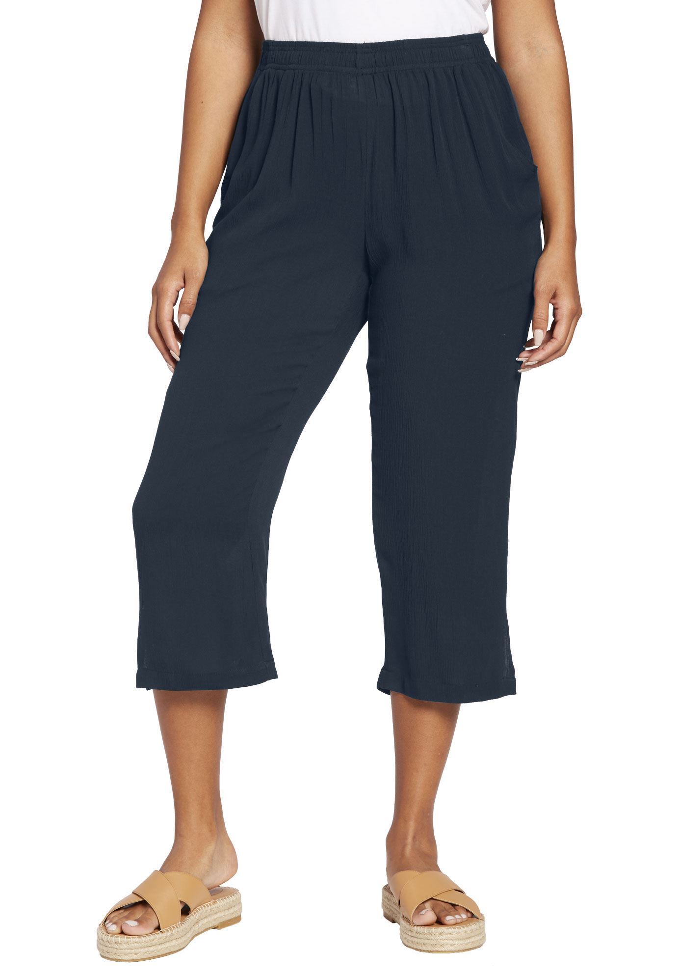 Woman Within Plus Size Crinkle Capri Pants