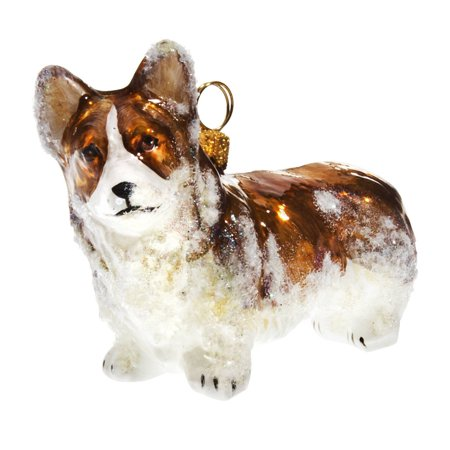 snowy pembroke welsh corgi polish glass christmas ornament dog pet decoration - Corgi Christmas Ornaments