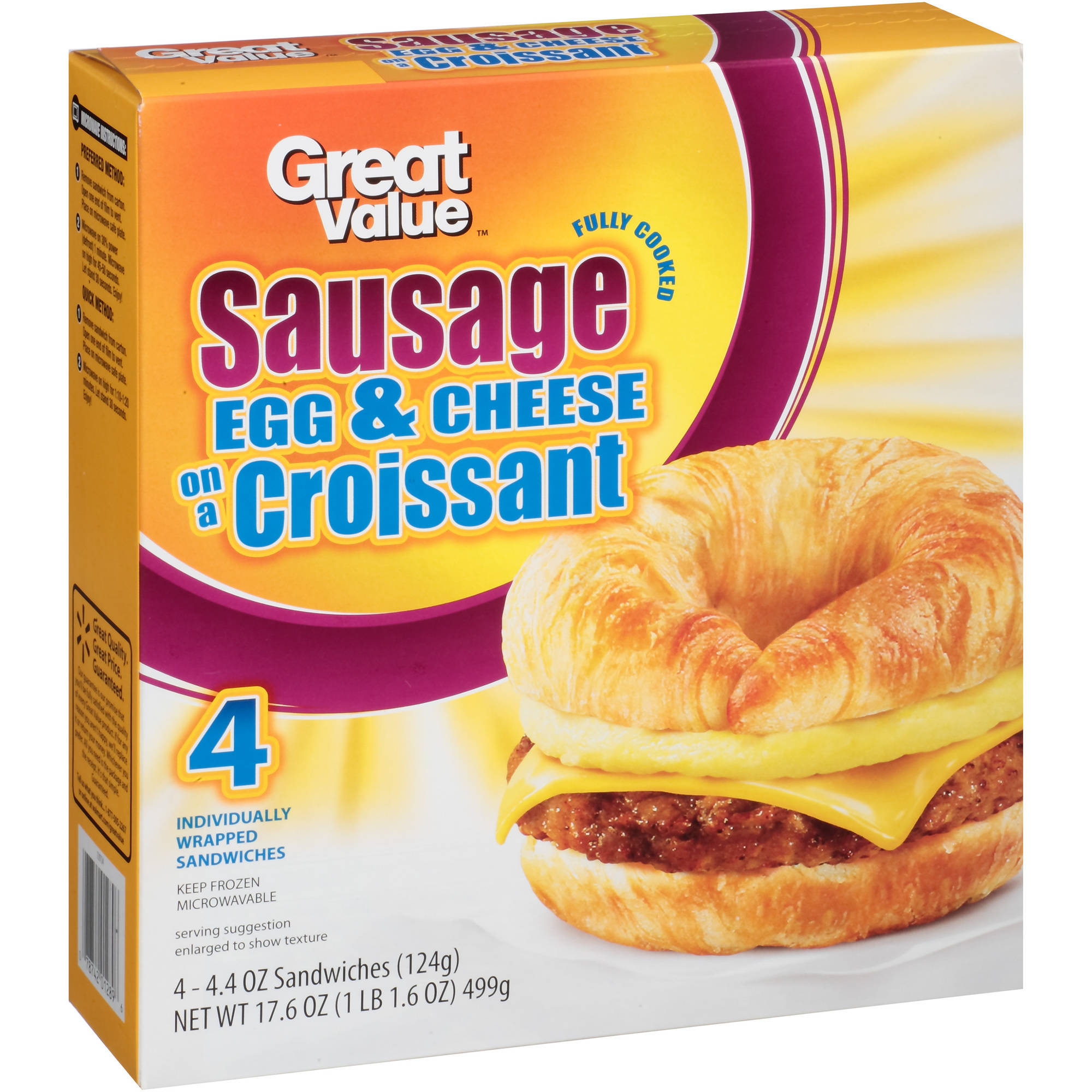 Great Value Sausage, Egg & Cheese on a Croissant, 4.4 oz, 4 Count