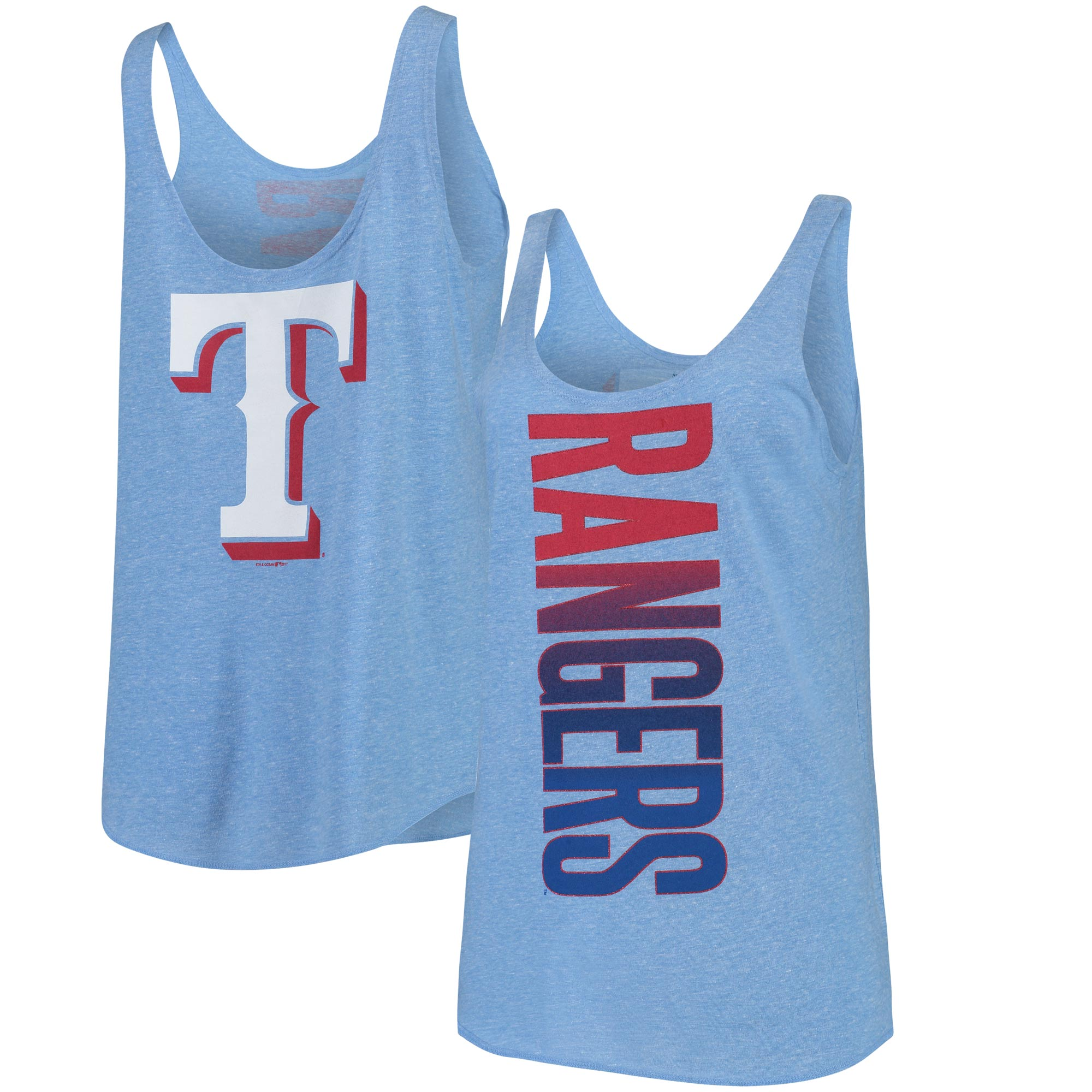 Texas Rangers 5th & Ocean by New Era Women's Tri-Blend Jersey Reversible Scoop Neck Tank Top - Royal