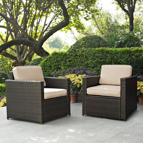 Crosley Furniture KO70005BR-GY Palm Harbor 2-Piece Resin Wicker Outdoor Chair Set (Brown/Grey)