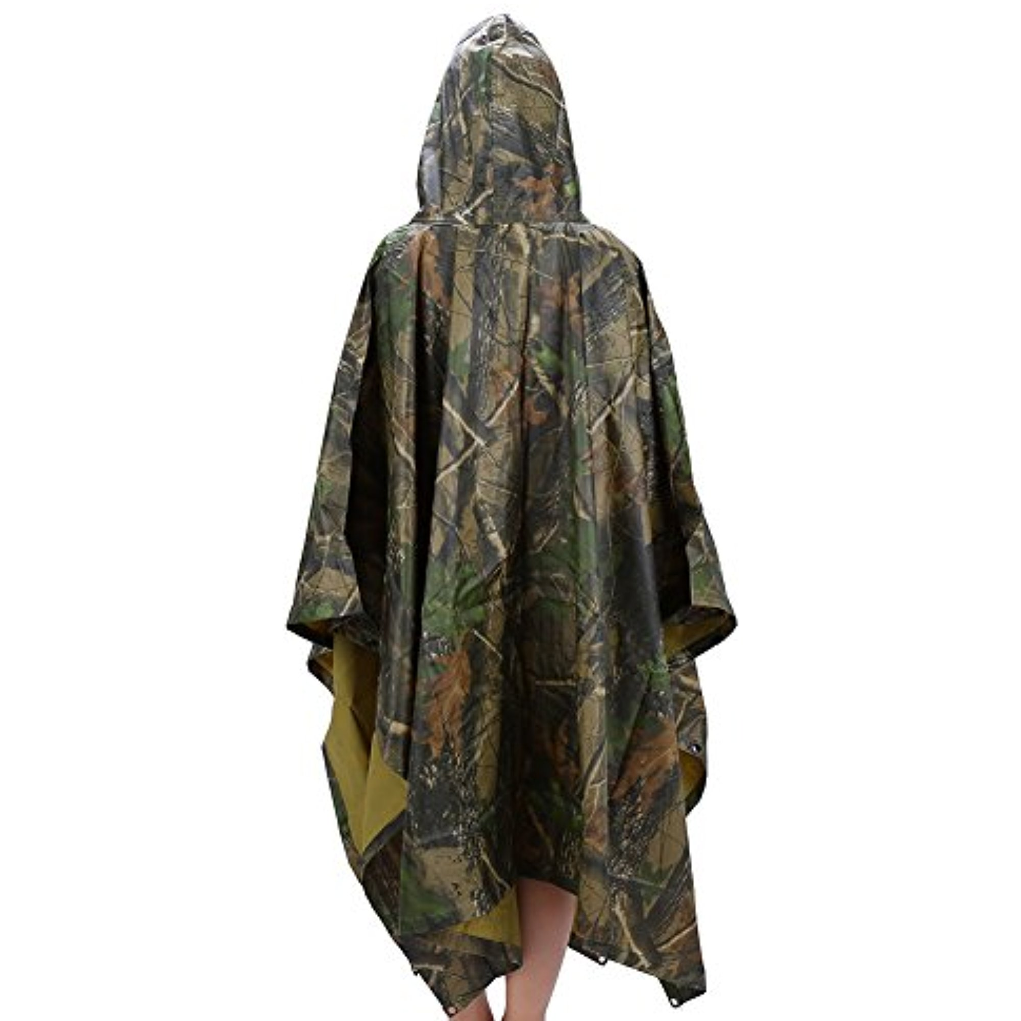 "Multi-Use Rain Poncho, 55"" x 90"" Waterproof Ripstop Hooded Rainwear Rain Coat Slicker for Adults Hunting Camping Emergency,Maple... by"