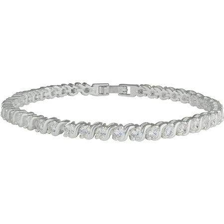 Silver Plated Bezel Round CZ Swirl Tennis Bracelet
