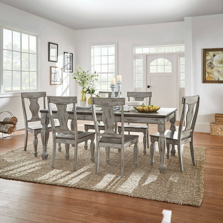 Weston Home Two Tone 7 Piece Dining Set Coffee And
