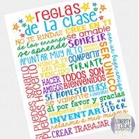 "16x20"" Spanish Classroom Rules Poster Reglas de la Clase Spanish Classroom Art Poster for Spanish Teacher"
