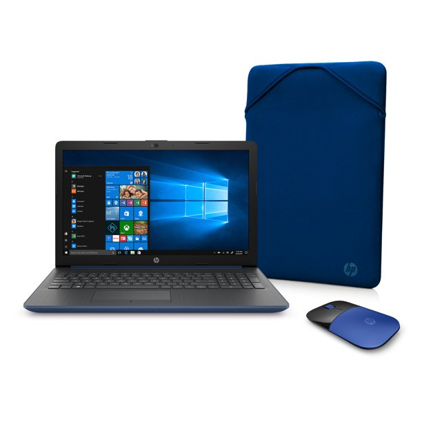 "HP 15 Laptop Bundle, 15.6"", AMD A4-9125, AMD Radeon R3 Graphics, 4GB SDRAM, 500GB HDD, Wireless Mouse, Sleeve, Lumiere Blue, 15-db0091wm"