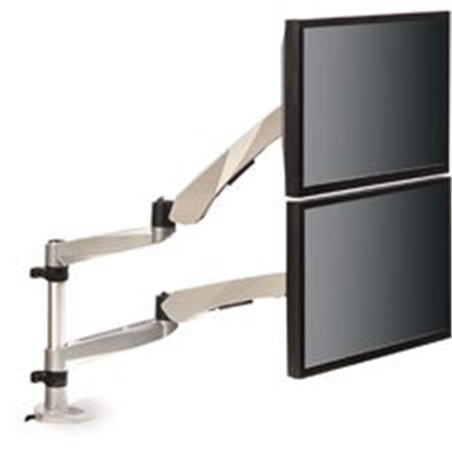 Easy-Adjust Dual Monitor Arm - Silver & Black