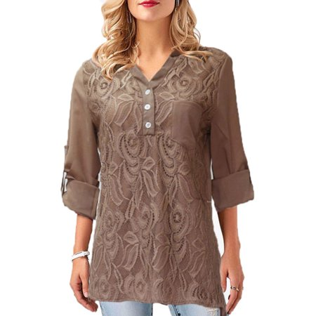 6ce042b4eac Plus Size Women Long Sleeve Lace Blouse Chiffon Shirt Ladies Casual Button  Tops - Walmart.com