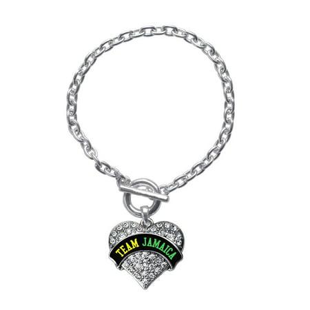 Team Jamaica Pave Heart Toggle Bracelet