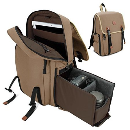 Gogroove Mid Volume Multifunction Dslr Camera Backpack  Tan  With Interior Tablet Sleeve   Quick Slide Camera Compartment   Phone Storage And Dual Accessory Areas
