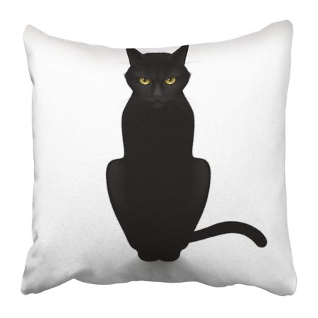 ARTJIA Head Black Cat White Silhouette Halloween Outline Profile Drawing Wild Animal Pillowcase Pillow Cover 20x20 inches