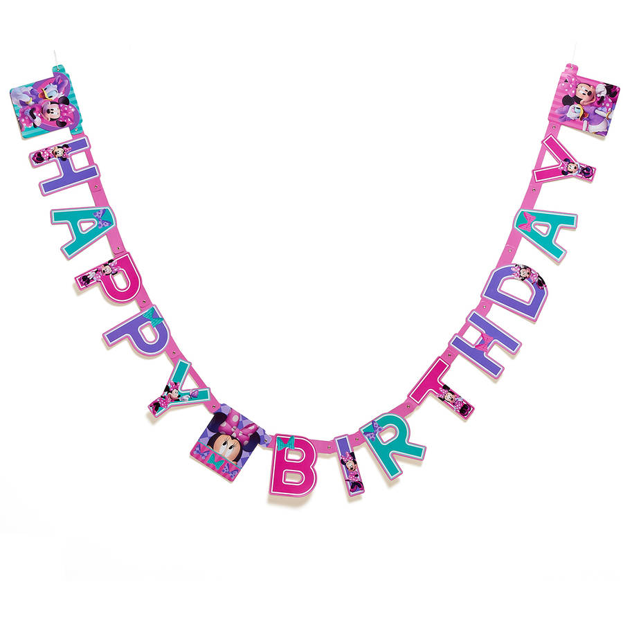 Minnie Mouse Bow-Tique Birthday Party Banner, Party Supplies
