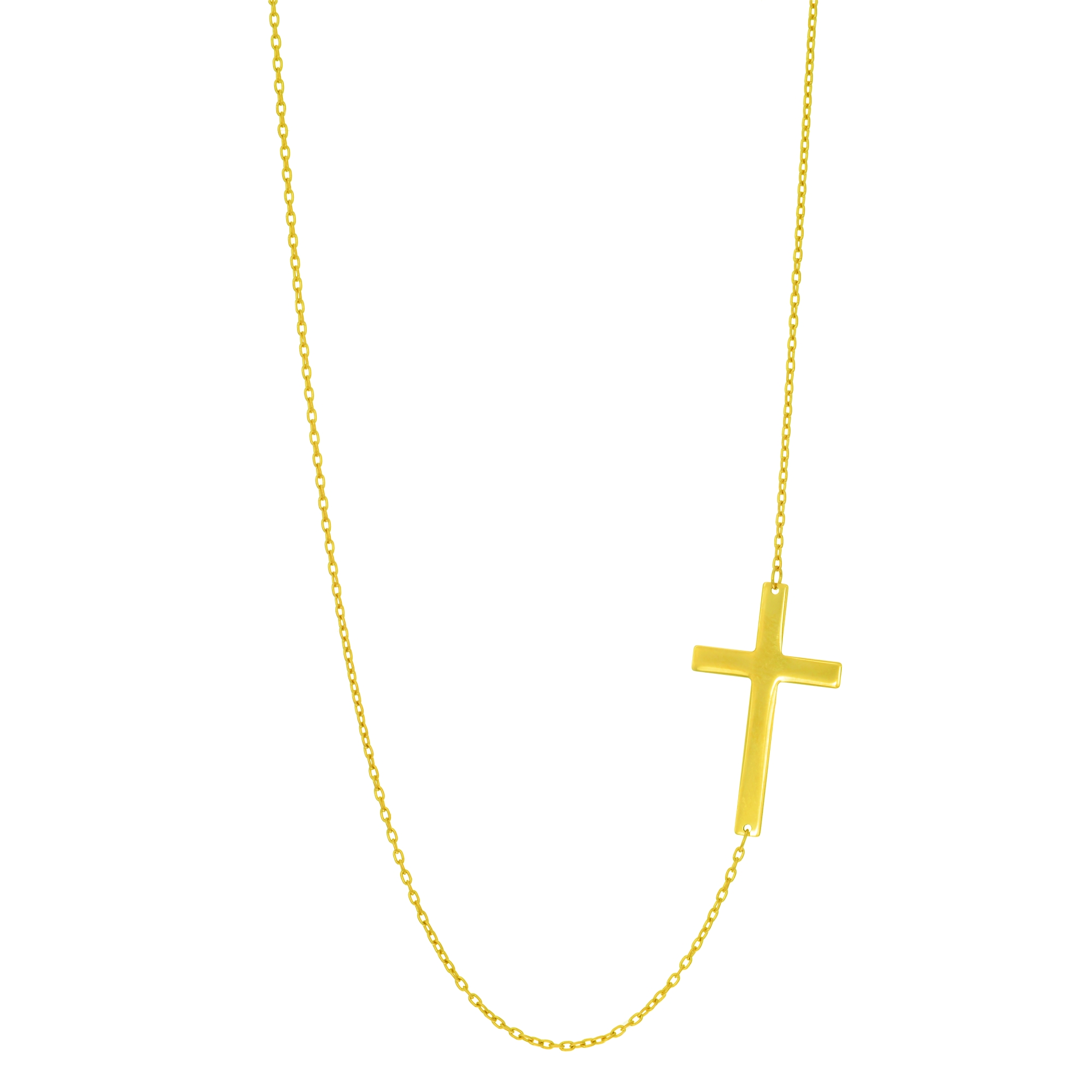 14k Yellow Gold Sideways Cubic Zirconia Cross Necklace Adjustable Chain 18 Inches