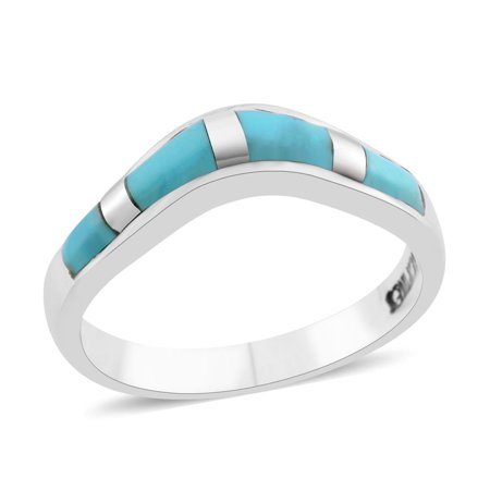 Southwest Jewelry Band Ring for Women 925 Sterling Silver Kingsman Turquoise Gift Persian Turquoise Ring