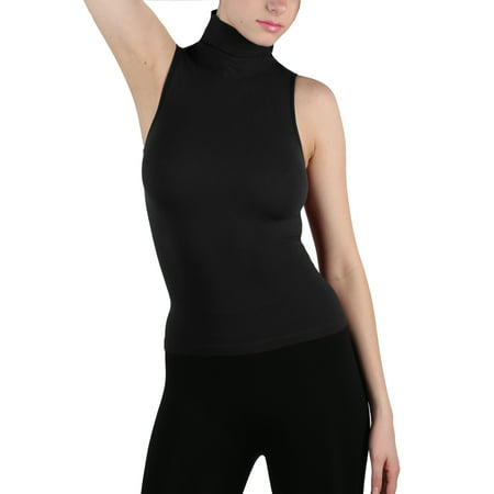 Women Seamless Sleeveless Mock Neck Turtleneck Shirt Shaping Ribbed Tank Top