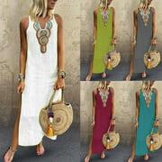 Multitrust Women Sleeveless Summer Casual Boho Floral Maxi Print Dress Ladies Holiday Beach
