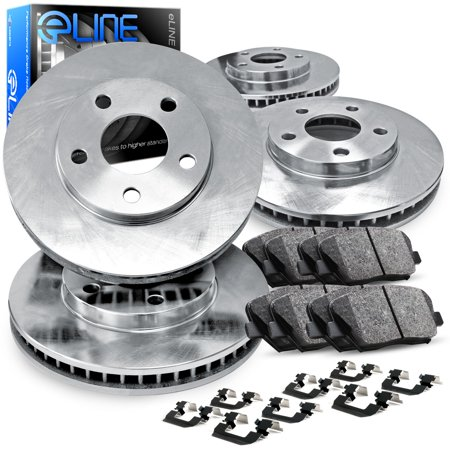 Fits 2007 2008 2009 For Hyundai Santa Fe Full Kit eLine Plain Brake  Rotors & Ceramic (2007 Hyundai Santa Fe Limited Towing Capacity)