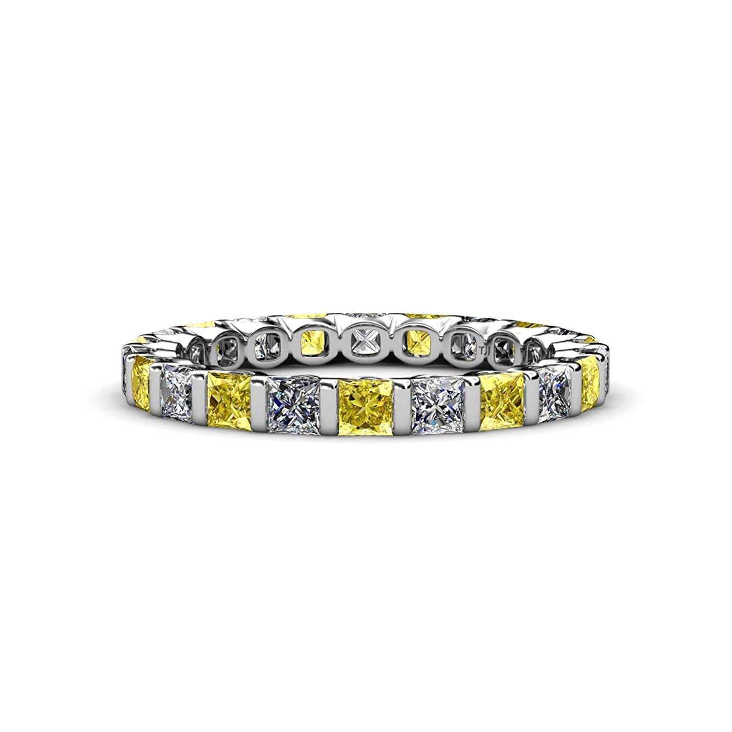 Yellow Sapphire & Diamond Common Channel Set 3 mm Eternity Band 2.52 ct tw to 3.15 ct tw in 14K White Gold.size 4.0 by TriJewels