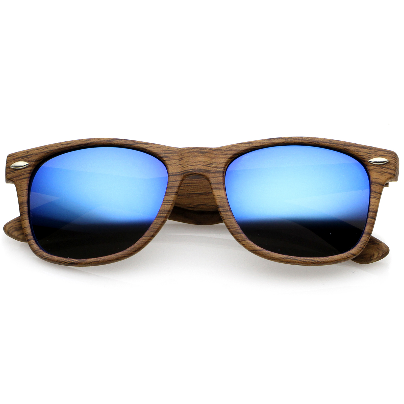 Classic Wood Printed Colored Mirror Square Lens Horn Rimmed Sunglasses 54mm (Natural Wood / Blue Mirror)