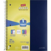 "Staples Accel Durable Poly Cover Notebook Wide Ruled Blue 8"" x 10-1/2"" 12 PK 2072467"