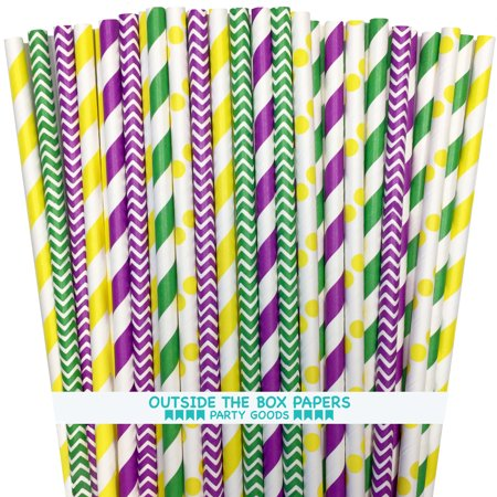 Purple, Yellow and Green Mardi Gras Theme Paper Straws 150  Pack - Green And Yellow Theme