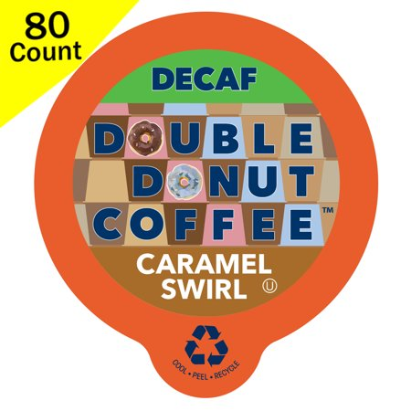 Double Donut, Decaf Caramel Swirl Flavored Coffee K-Cups, 80 Ct