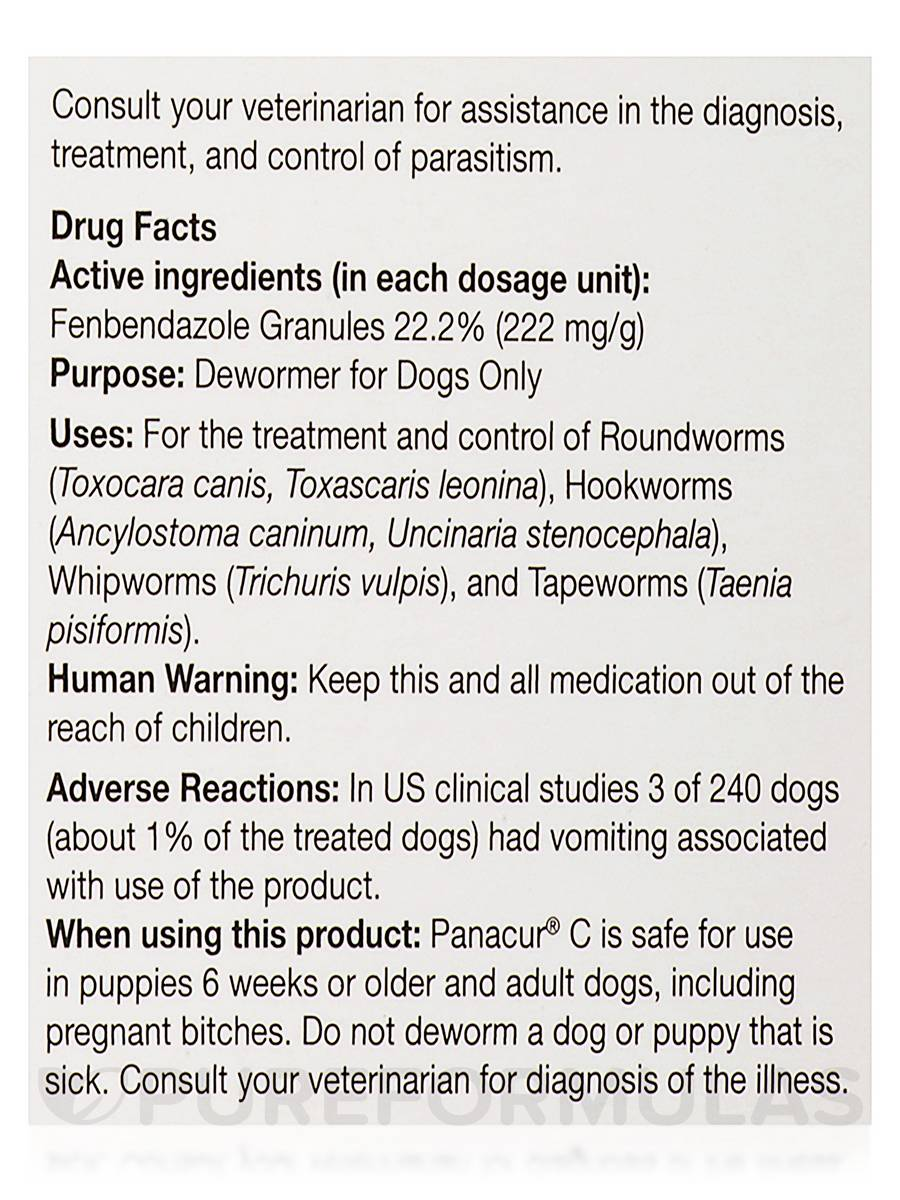Panacur C Dewormer for Dogs, Three 4-Gram Packets (40 Pounds)