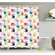 Kids Shower Curtain Set Colorful Children Hand Print Cute Teamwork Painting Kids Fun Games Illustration