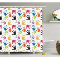 Kids Shower Curtain, Colorful Children Print Cute Teamwork Painting Kids Fun Games Illustration Print, Fabric Bathroom Set with Hooks, Red Teal Yellow, by Ambesonne
