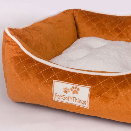 Pet Soft Things Microplush Quilted Dog Bed with Removable Pillow