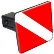 "Scuba Diver Flag, Diving 1.25"" Tow Trailer Hitch Cover Plug Insert"
